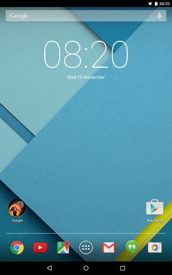 Android Lollipop Homescreen